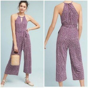 Anthropologie Maeve Purple White Floral Jumpsuit